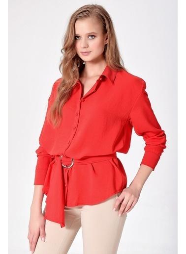 Jument Aerobin Yakalı Uzun Kol Kemerli Tunik Gömlek Kırmızı